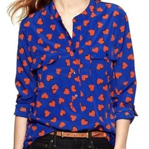 Gap Novelty Blouse Blue Orange Hearts